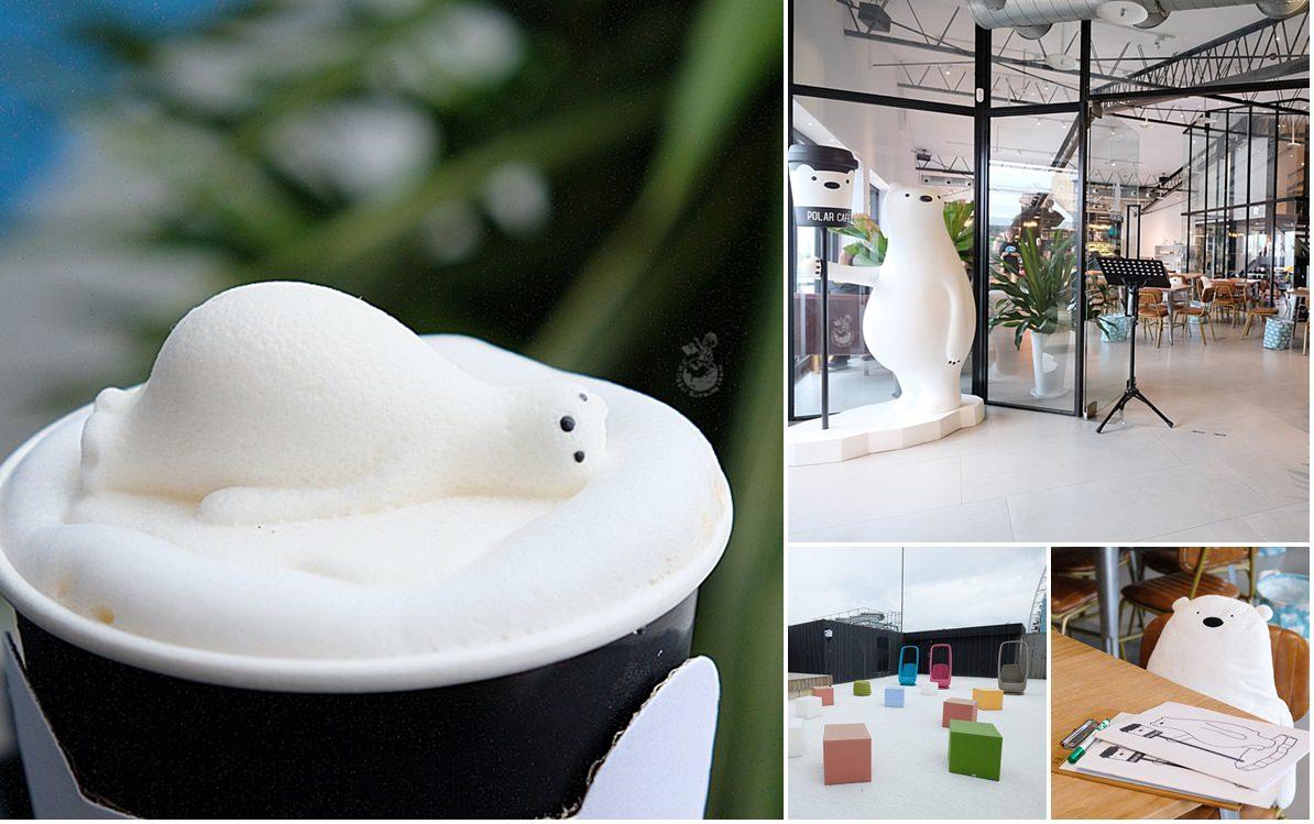 西門町咖啡廳︳POLAR CAFE西門旗艦店:北極熊咖啡店又出新梗,躺著發懶的北極熊棉花糖咖啡超紓壓